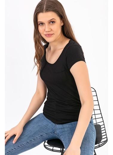 Tiffany&Tomato U Yaka Cepli Kısa Kollu T-Shirt Siyah